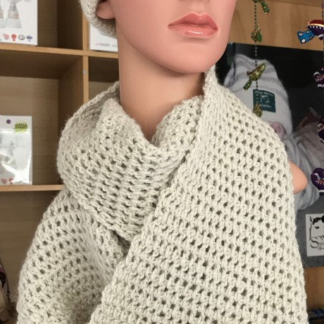 Alpaca Crocheted Infinity Scarf - Natural image